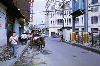 Horse taxi, electric sub-station & Santa Cruz church