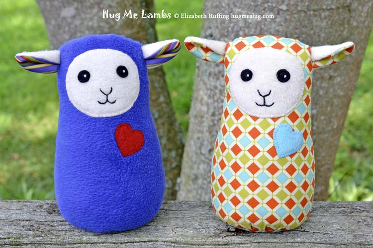 Plush Stuffed Animal Art Toys, Hug Me Lambs by Elizabeth Ruffing, in royal blue and a diamond pattern