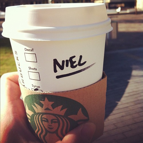 Starbucks: If I had a pound for every time someone spelled my name like this, I'd be a rich man
