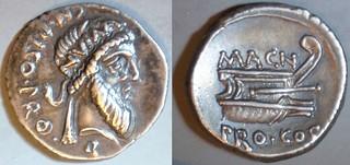 446/1 MAGN. PRO COS. CN.PISO PRO Q. Pompey Denarius. Numa Pompilius, Prow. Corcyra, early 48BC.