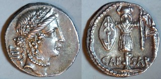 452/2 CAESAR Julius Caesar Denarius. Pietas, LII, Trophy with Gallic shield and carnyx. Apollonia early-mid 48BC. Very elegant portrait.