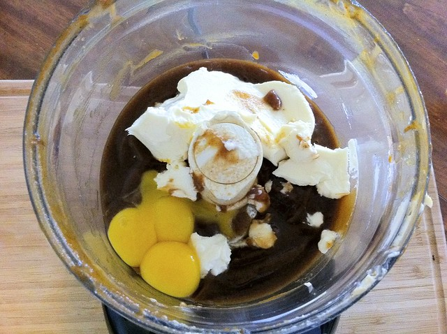 Mascarpone and Egg Yolks Added to Food Processor