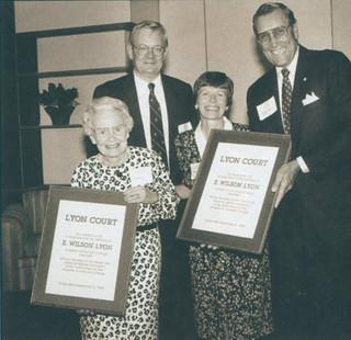 On September 20, 1990, President David Alexander led the dedication ceremony for E. Wilson Lyon Court. From left: Carolyn (Mrs. E. Wilson) Lyon, David Alexander, daughter Elizabeth Lyon Webb; and Board of Trustees Chairman George F. Moody