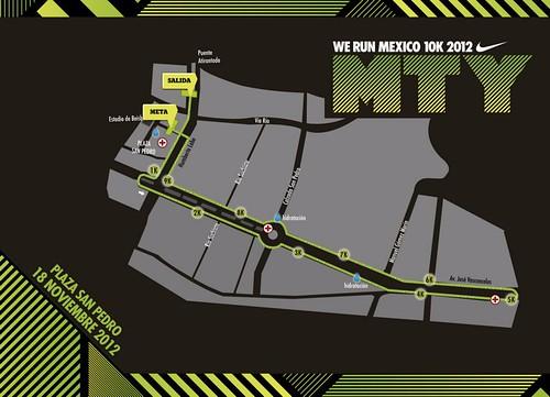Ruta carrera Nike We Run Mexico 2012 Monterrey