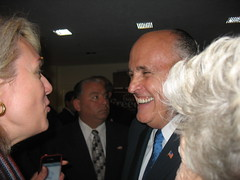 Mayor Guiliani talks with supporters.