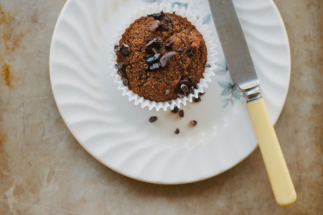 Grain-free mesquite + cacao nib muffins