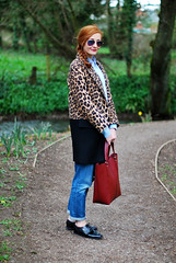Leopard & black coat with boyfriend jeans