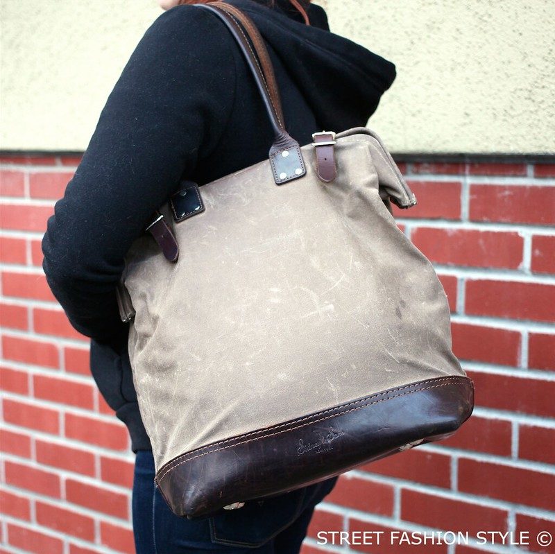 sidney and sons waxed canvas and leather tote, san francisco streetstyle fashion blog, STREETFASHIONSTYLE,