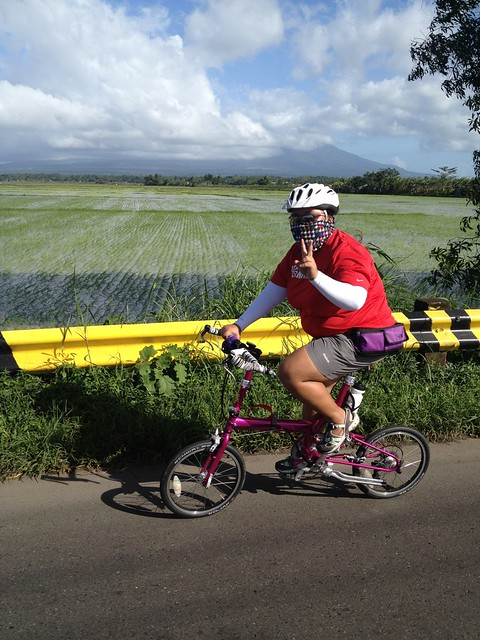 Cycling in Bicol with Mt. Isarog in the background