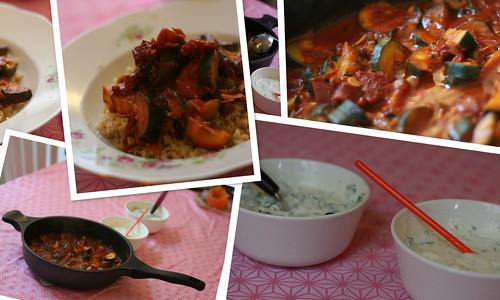 zucchini-pfanne mit couscous & korianderjoghurt