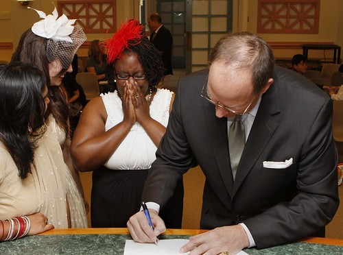 Signing the marriage certificate