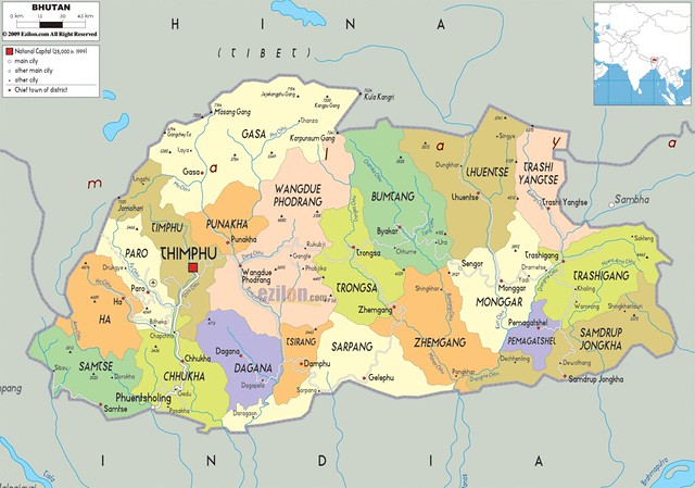 political-map-of-Bhutan