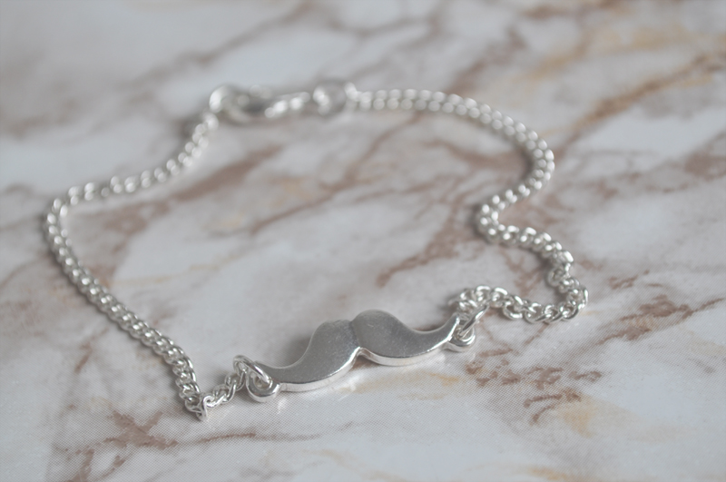 asos moustache bracelet silver
