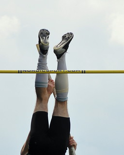 A pole vaulters legs upside down
