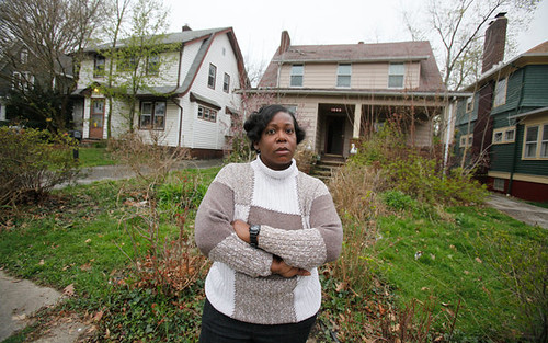 "Carla Duncan is fighting a lawsuit over the foreclosure on her home in Cleveland Heights, Ohio. Despite a myraid of government programs and ""settlements"" with financial institutions, the problem of seizures of homes continues unabated.  by Pan-African News Wire File Photos"