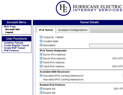 Hurricane Electric IPv6 Tunnel Broker