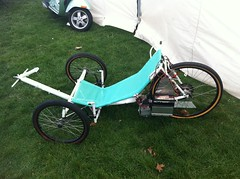 An electric trike driven from the rear wheel