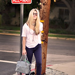 purple jeans-boots - white t- stop sign