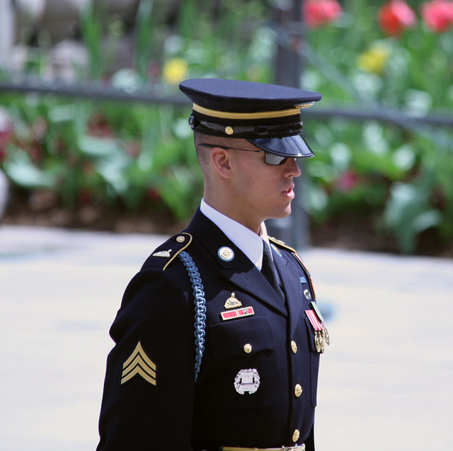 Tomb of the Unknown Soldier - guard announces changing of guards - Arlington National Cemetery - 2012