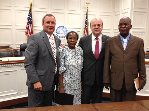 <B>Rep. Jim McGovern and Rep. Jeff Duncan with Father Benoit Kinalegu and Sister Angelique Namaika of the Democratic Republic of Congo</B>