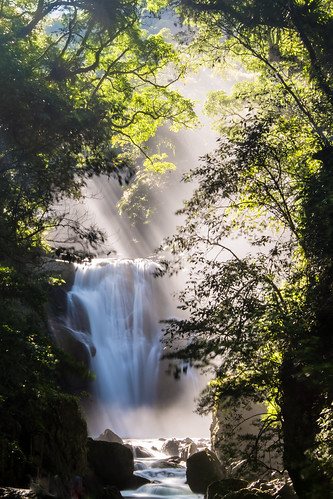 morning summer mist color green vertical canon landscape waterfall rocks stream taiwan taipei rays milky 烏來 silky 1635mm 內洞瀑布 supershot ndx8 信賢瀑布 斜射光 內洞國家森林遊樂區 canoneos5dmarkiii