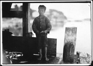 "Hiram Pulk, 9 years old, cuts some in a canning company. ""I ain't very fast only about 5 boxes a day. They pay about 5 cents a box,"" August 1911"