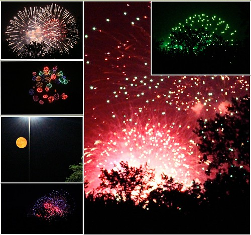 Fireworks and Moon
