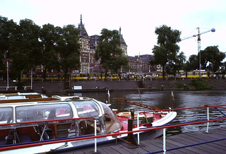 covered canal-cruise boats in front of Central Station