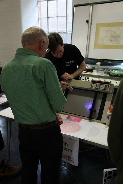Derby Mini-Makerfaire - John Demonstrates the Plotter to Tim Hunkin