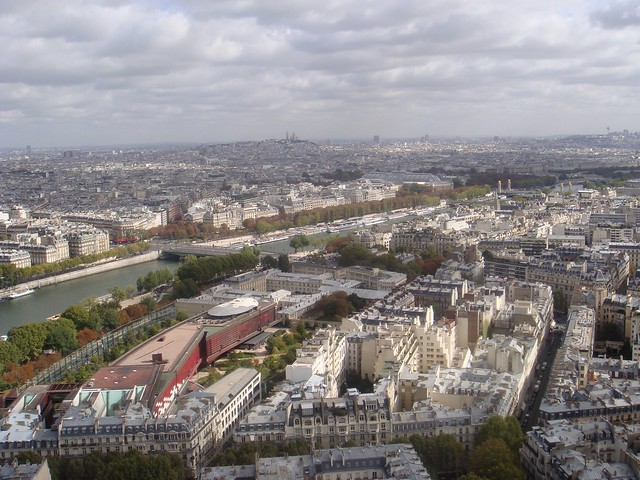 Panoramic view over Paris from the top of the Eiffel Tower