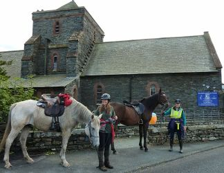 Horse Riders join Ride + Stride in Cumbria A first for Torver  Horse-riders,   Valerie  Towndrow and Sonia  , Cumbria