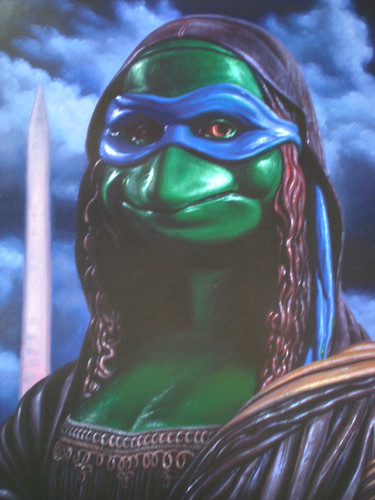 """Ron English's """"LEONARDO as MONA LISA"""" ; SDCC Exclusive Poster - Signed by RON  ii ((  2012 ))"""