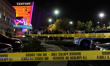 Aurora Police outside the Century 16 movie theatre, Denver