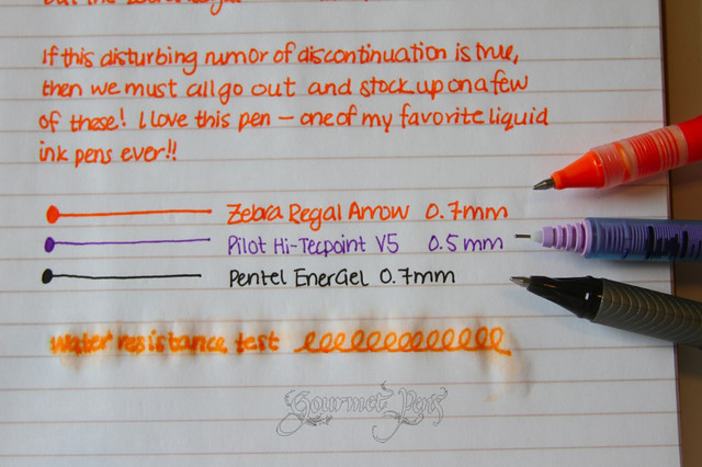 Zebra Regal Arrow Writing Sample Close Up