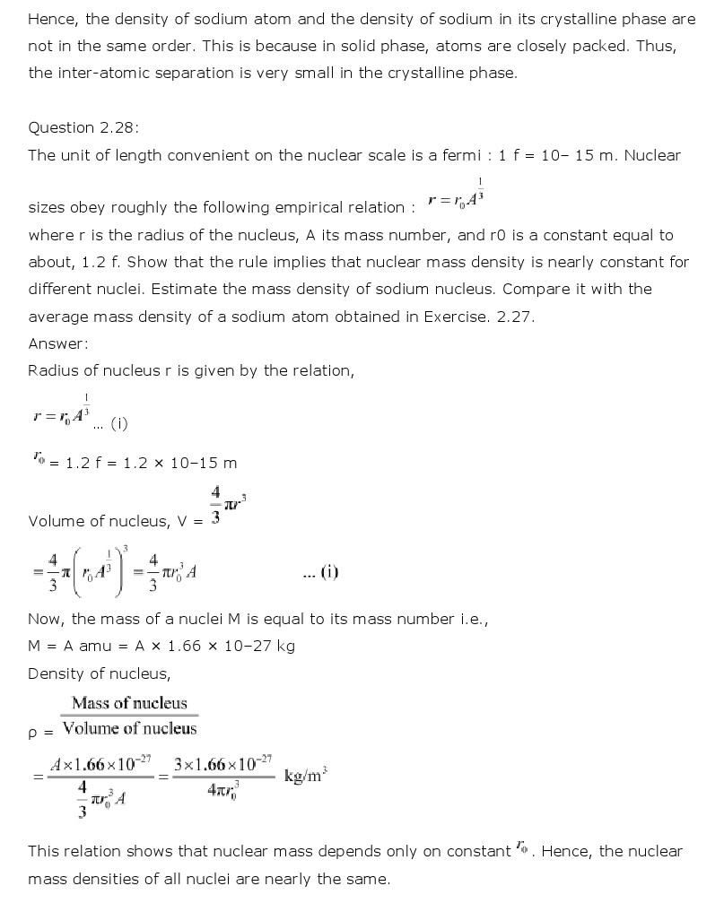 NCERT Solutions for Class 11th Physics Chapter 2 - Units and Measurements