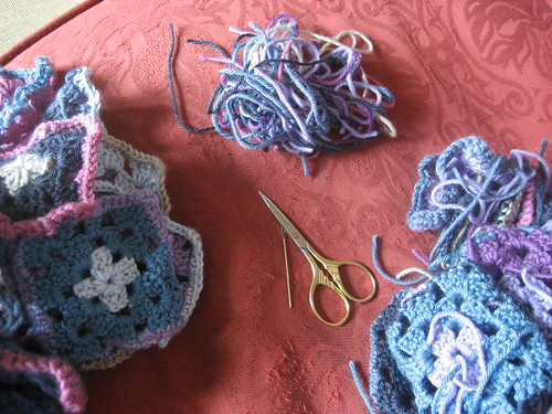 Weaving in ends on all the granny squares