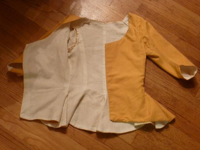 gold linen jacket, 1770s