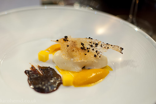 White chocolate mousse, mango, black olive caramel