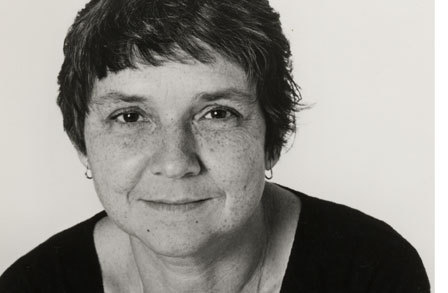 Black and white portrait of Adrienne Rich
