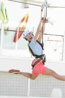 Michelle Kwan becomes a master of the sky on the only zipline at sea.