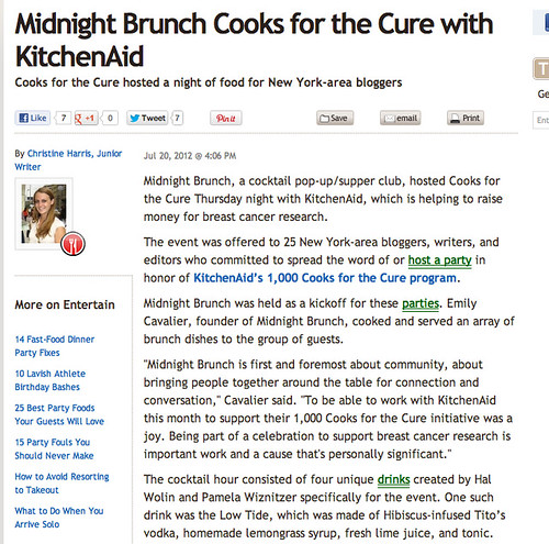 Press for Midnight Brunch on The Daily Meal, 7/20/12