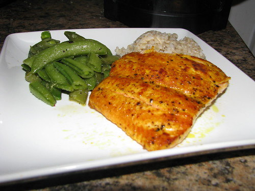 pan seared salmon, steamed rice and snap peas