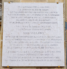 Photo of Rose Valland white plaque