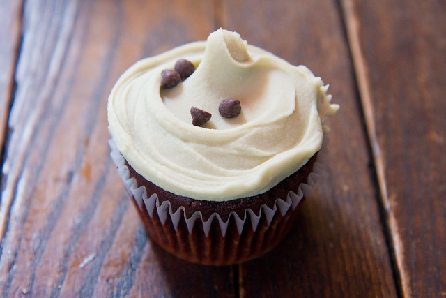 Brownie cupcake with mint icing, Babycakes