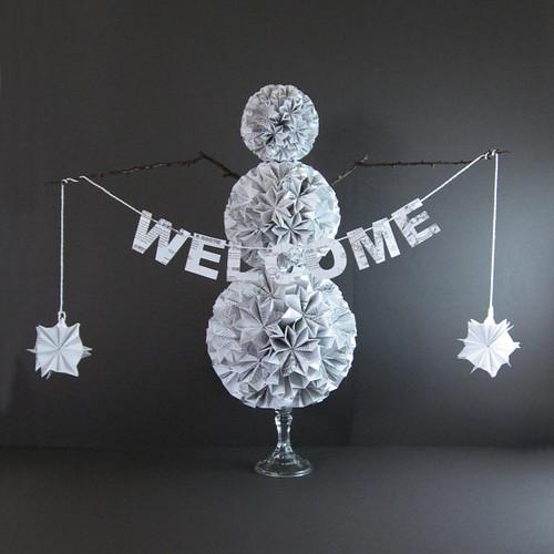 folded paper snowman