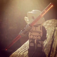 The force may be with him... #starwars #backlight #trooper #lego #toy #outdoor #scout #lightsabel #workout