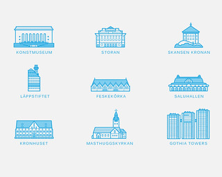 Gothenburg buildings icons