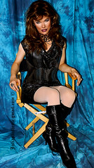 Shiny dress, leather boots