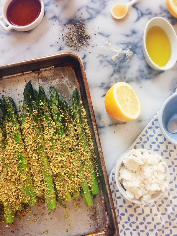 Pistachio Crusted Asparagus with Feta