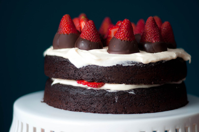 strawberries and cream quinoa layer cake